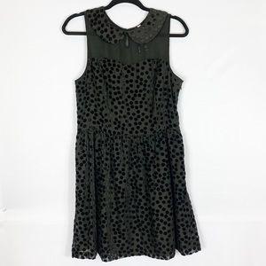 kensie Black dress with velvet polka dots
